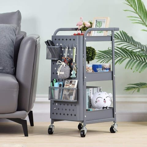 3-Tier Utility Metal Storage Rolling Cart with Removable Pegboard