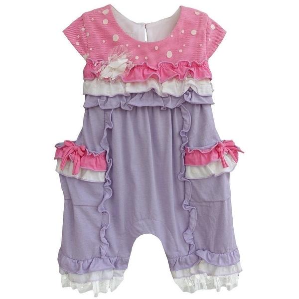 Isobella & Chloe Baby Girls Lilac Sugarland Ruffled Polka Dots Romper 3M-24M