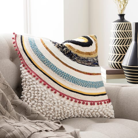 Donnan Embroidered Boho 20-inch Throw Pillow