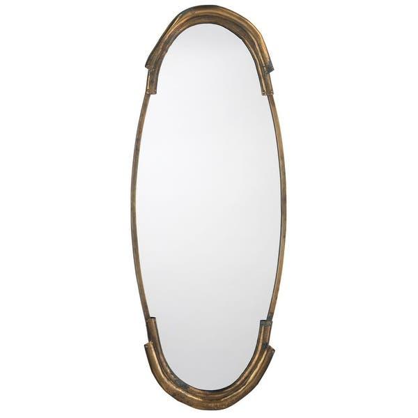 Shop 45 Antique Brass Metal Framed Beveled Oval Wall Mirror On Sale Overstock 31709269