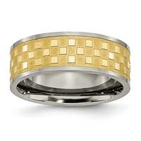 Chisel Titanium 8mm Gold Plated Satin and Polished Checkered Band