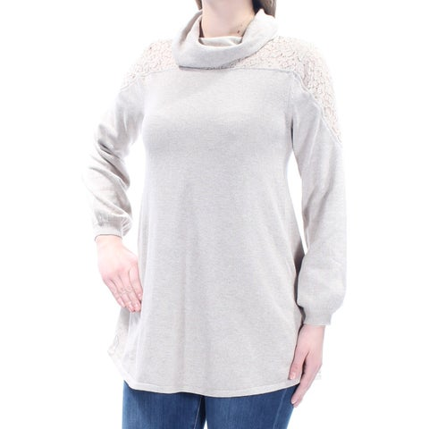 Womens Beige Long Sleeve Cowl Neck Casual Sweater Size M