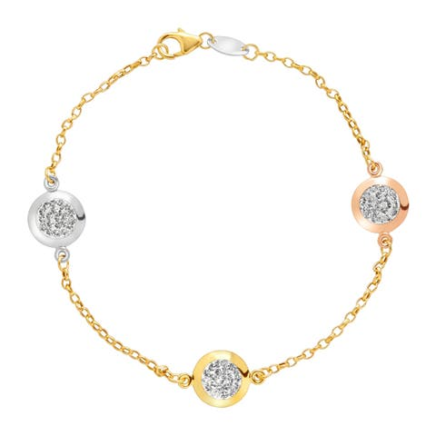 Crystaluxe Station Bracelet with Swarovski Crystals in 10K Three Tone Gold-Bonded Sterling Silver - White
