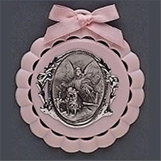 Roman 194694 Cradle Medal-Baptism-Pink - 4.25 in. Boxed