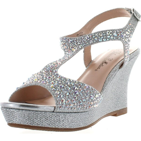 De Blossom Collection Womens Winni-12 Dress Wedge Sparkle Party Sandals