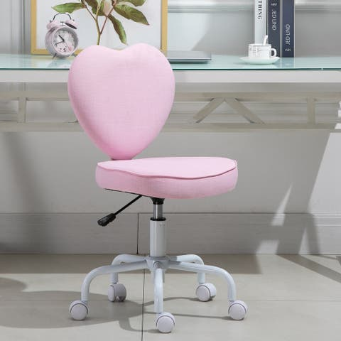 HOMCOM Heart Love Shaped Back Design Office Chair with Adjustable Height and 360 Swivel Castor Wheels, Pink