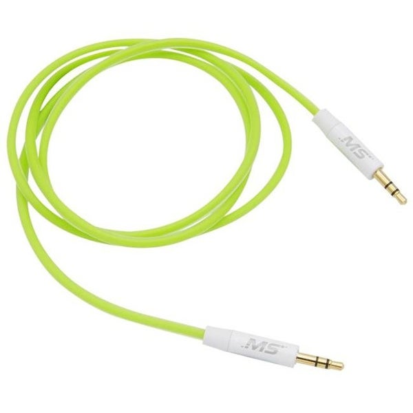 Foam Auxiliary Cable, 3 ft., 3.5 mm. to 3.5 mm. - Lime Green
