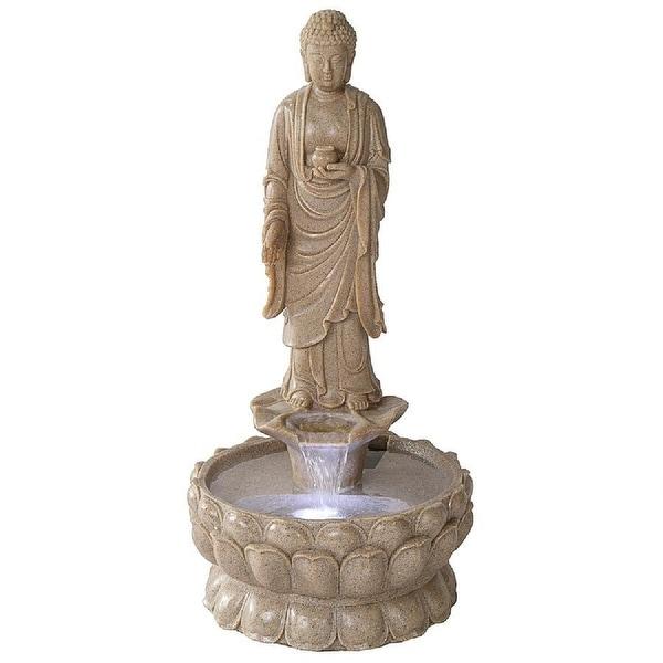"32.5"" Illuminated Buddha Spiritual Sculptural Garden Fountain - N/A"