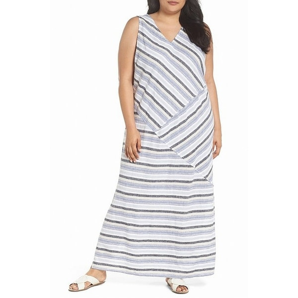 a12157145d Shop Caslon Blue Women s Size 2X Plus Stripe Printed V-Neck Maxi Dress -  Free Shipping On Orders Over  45 - Overstock - 27895180