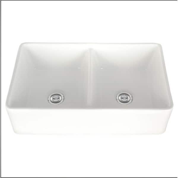 Barkano 32 Double Bowl White Farmhouse Kitchen Sink Apron Front On Sale Overstock 12995517