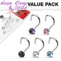 5 Pcs Value Pack of Assorted 316L Surgical Steel Prong Set Gem Nose Screw - Thumbnail 0