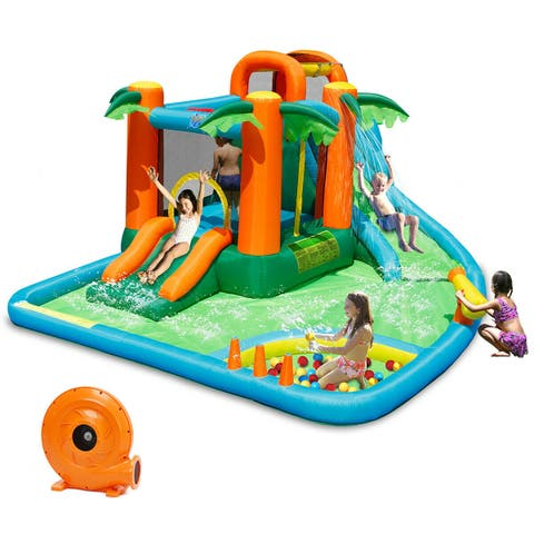 Gymax Inflatable Bounce House Jump Bouncer Kids Water Park Splash Play Center w/Blower - as pic