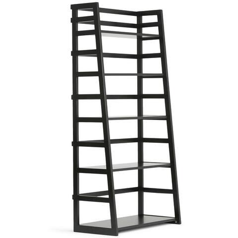 """WYNDENHALL Normandy SOLID WOOD 63 inch x 30 inch Rustic Ladder Shelf Bookcase - 30""""w x 15.9""""d x 63""""h"""