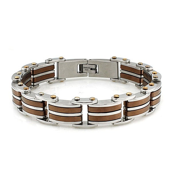 Men's Two-tone Stainless Steel Link Bracelet with Coffee Color Accents (15mm Wide) - 8.5 Inches