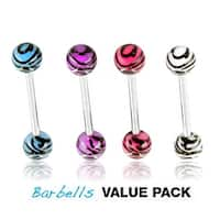 4 Pcs Pack of Assorted Color Surgical Steel Barbells with Tiger Print UV Balls - 14 GA