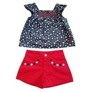 Link to US Polo Red White Blue Stars Patriotic Summer Top Shorts Outfit Little Girls Similar Items in Girls' Clothing