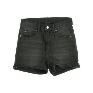 Cheap Monday Womens Plus Faded Stretch Denim Shorts - black shade - 27