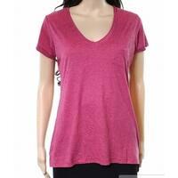 Alternative Sangria Red Womens Small S V-Neck Pocket Tee Knit Top