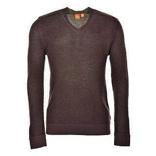 Hugo Boss Orange Label Azinty V-Neck Waffle Knit Wool Sweater Purple Large L