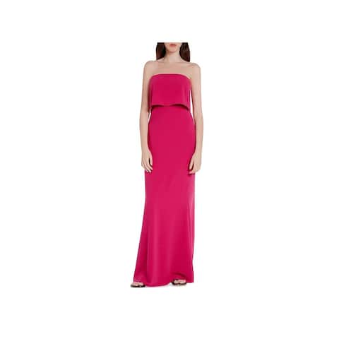Halston Heritage Womens Evening Dress Strapless Full-Length - Cerise