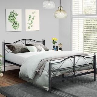 Antique Graceful Dark Black Victorian Iron Bed by VECELO
