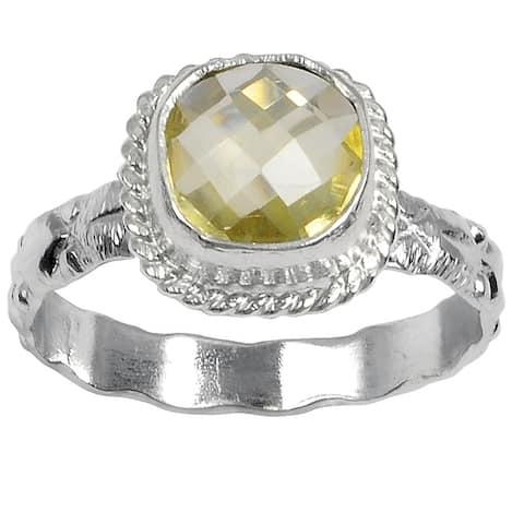 Lemon Quartz Brass Cushion Fashionable Ring by Orchid Jewelry