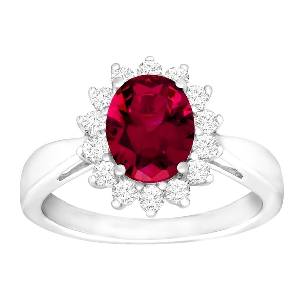 3 1/6 ct Created Ruby & White Sapphire Ring in Sterling Silver - Red