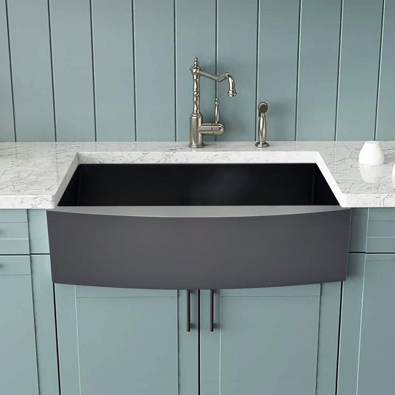 Shop 33 Inch Matte Black Stainless Steel Farmhouse Sink Overstock 31296411