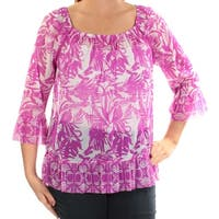 INC Womens Purple Floral Bell Sleeve Scoop Neck Top  Size: L
