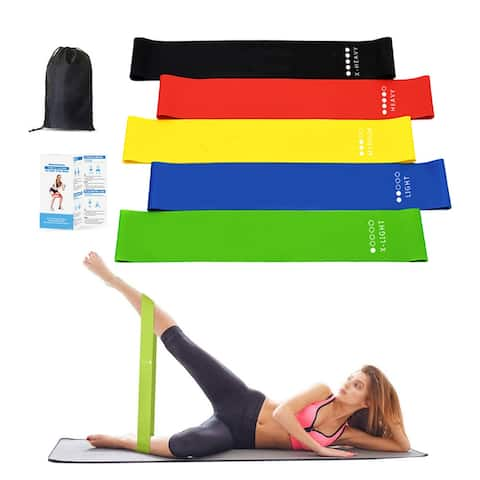 Moda Resistance Loop Exercise Body Bands Set of 5 Pieces with Carry Bag