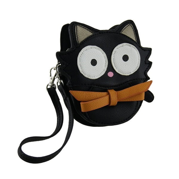 Bitty Kitty Big Eyed Black Cat Vinyl Coin Purse with Removable Wrist Strap