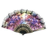 Unique Bargains Floral Design Lace Sewed Nylon Section Hollow Out Handle Dancing Fan