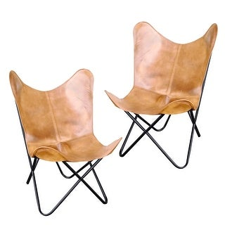 Offex Natural Leather Butterfly Sling Chair in Light Tan - 2 Piece Set