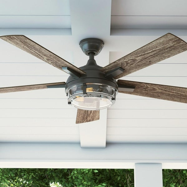 "52"" Prominence Home Freyr Indoor/Outdoor Craftsman Ceiling Fan with Remote, Textured Black - 52. Opens flyout."