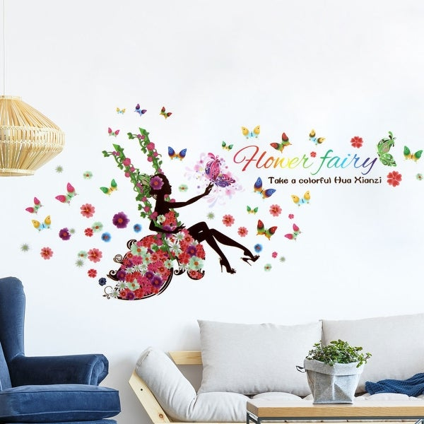 shop swing flower butterfly fairy diy removable wall sticker decals