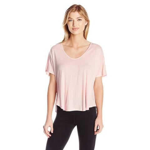Calvin Klein Performance Women's Plus Size Jersey Tee T-back, Pink (2X)