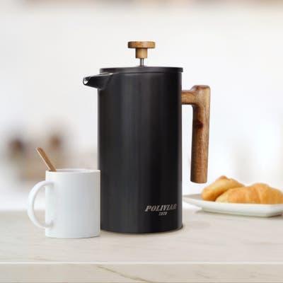 POLIVIAR French Press Coffee Maker Coffee Press with Teak Wood Handle-34 oz