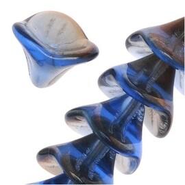 Czech Glass Beads Three Petal Flower 12mm Sapphire Blue Celsian (12)