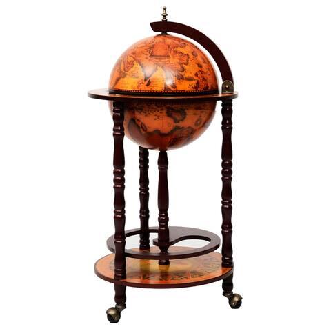 Costway 36'' Wood Globe Wine Bar Stand 16th Century Italian Rack
