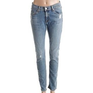 Rag & Bone/JEAN Womens Skinny Jeans Distressed Mid-Rise