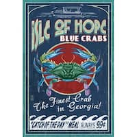 Isle of Hope GA Blue Crabs Vintage Sign LP Artwork (Art Print - Multiple Sizes)