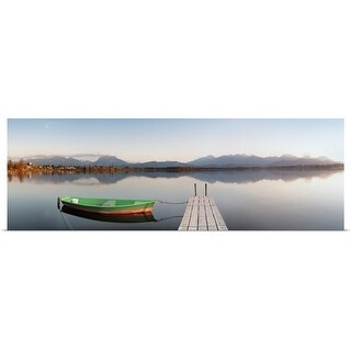 """Rowboat moored at a jetty on Lake Hopfensee, Ostallgau, Bavaria, Germany"" Poster Print"