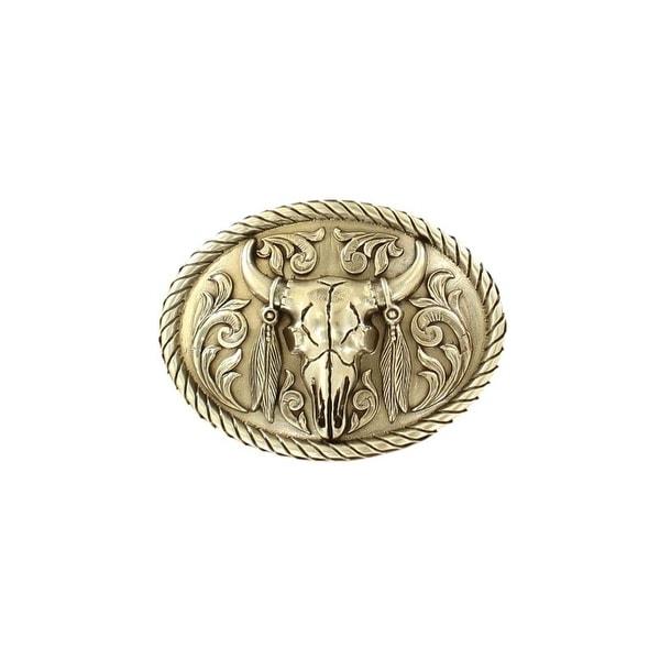Nocona Western Belt Buckle Mens Steer Skull Oval Floral Scroll - 2 5/8 x 3 1/2