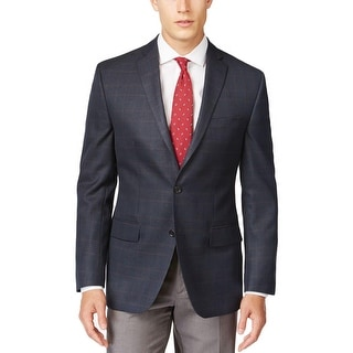 MICHAEL Michael Kors Mens Two-Button Blazer Tonal Plaid Notch Collar