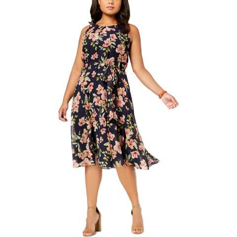Jessica Howard Womens Plus Scuba Dress Pleated Floral Print - 18W