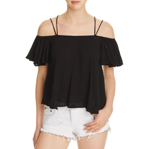 Lucy Paris Womens Casual Top Ruffled Cold Shoulder - XS