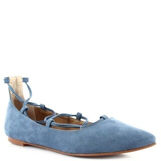 Ceresnia Adult Blue Pointed Toe Lace-Up Comfort Stylish Flats