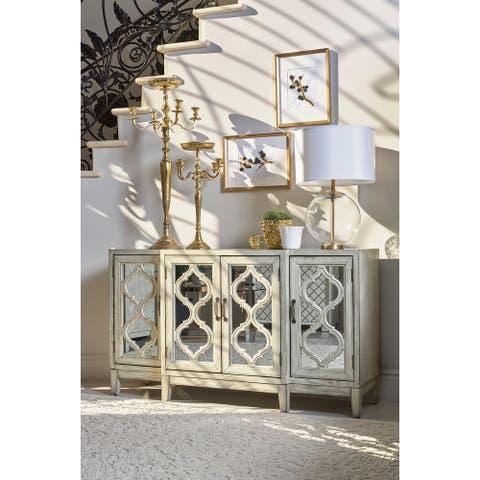 Leslie Antique White Mirrorred Four-door Accent Cabinet