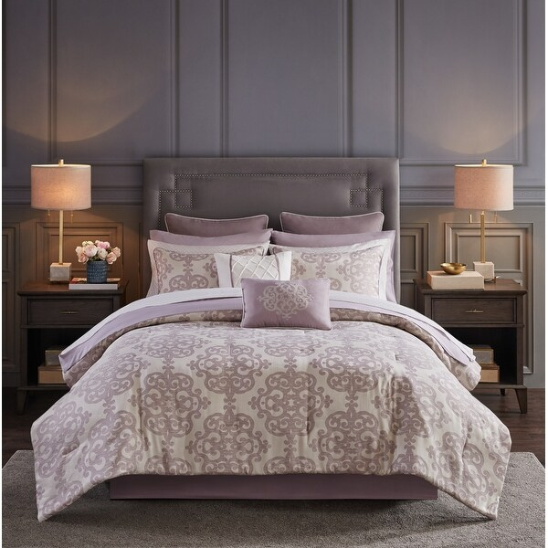 Madison Park Essentials Freda Purple 16 Piece Jacquard Complete Bedding Set with 2 Sheet Sets