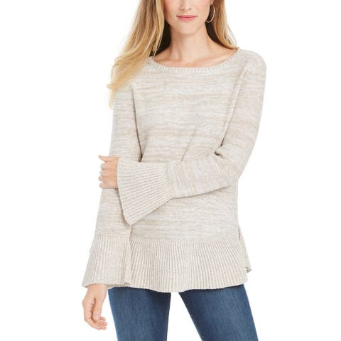 Style & Co Women's Bell Sleeve Marled Knit Sweater Beige Size Large